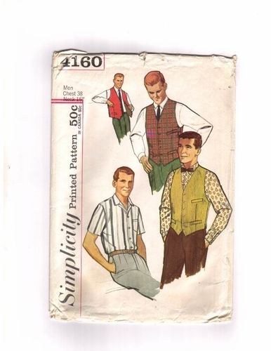 Simplicity 4160 Short/Long Sleeve Shirt & Vest-A, Size Medium