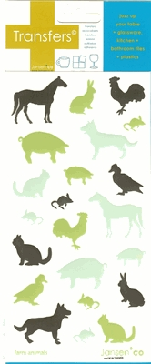 """Farm Animals"" Glassware & Tile Transfers"