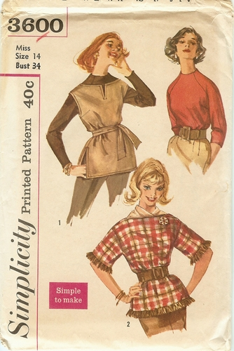 Simplicity 3600 Top & Ponchos,Bust 34""