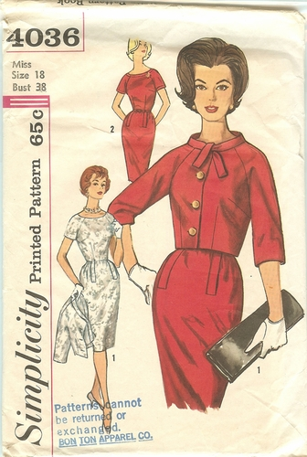 Simplicity 4036 Dress W/Jacket,Bust 38""