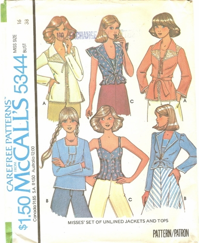 McCall's 5344 Jackets & Tops, Bust 38""