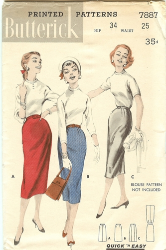 Butterick 7887 Skirt, Waist 25""