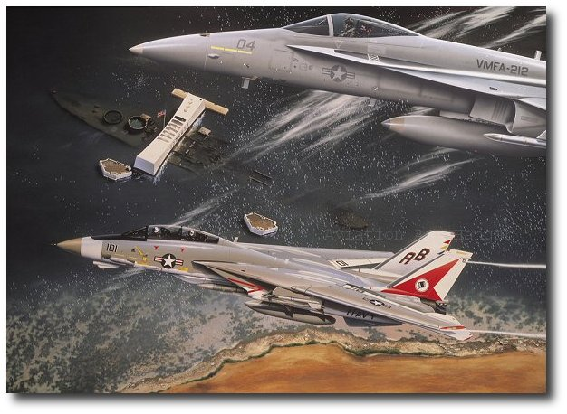 Art print POSTER Canvas Three F-14 Tomcats Flying in Formation