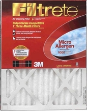 3M Filtrete Micro Allergen Reduction Furnace Filter  12x 24''x 1''
