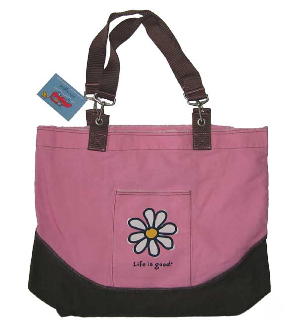 All Things Jeep - Life is good Beach Bag - Daisy on Tulip Pink
