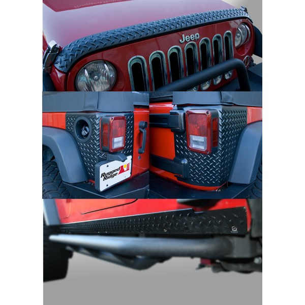 All Things Jeep 5 Piece Diamond Plated Body Armor Guard