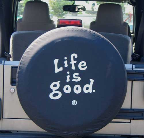 all things jeep closeout life is good tire cover coin. Black Bedroom Furniture Sets. Home Design Ideas