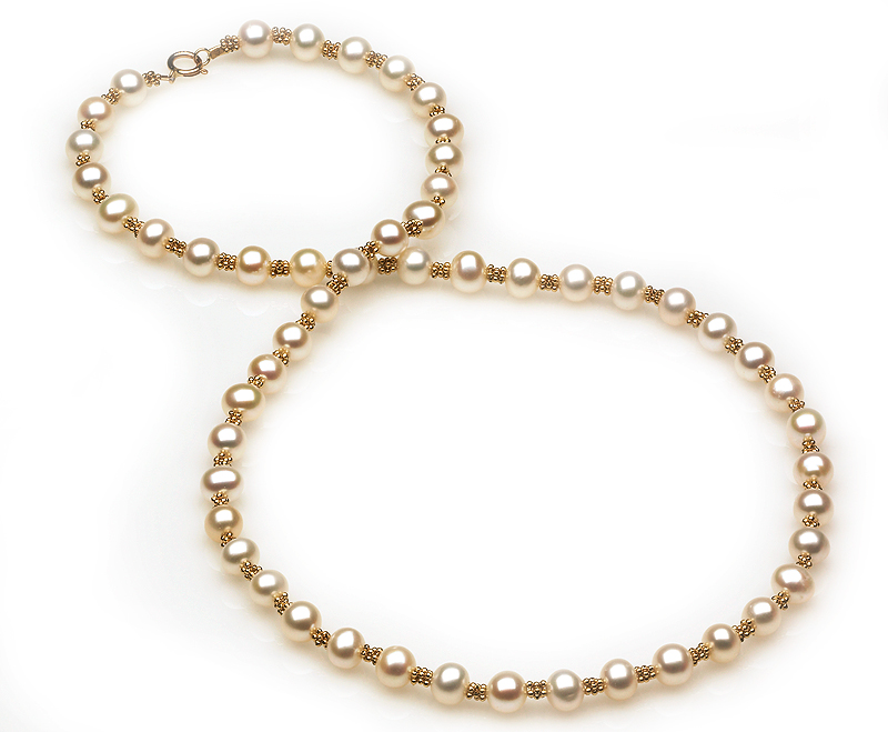 Freshwater Pearl and Gold Bead Necklace - American Pearl