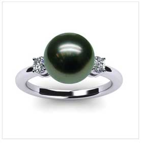 Grace a Black Tahitian Cultured Pearl Ring