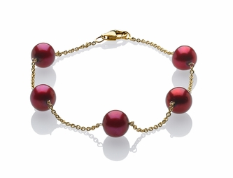 Cranberry Pearl Tin Cup Bracelet