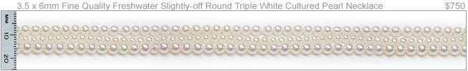 Triple Strand with Multiple Pearl Size Freshwater Necklace