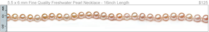 5.5 x 6 mm Peach Freshwater Cultured Pearl Necklace
