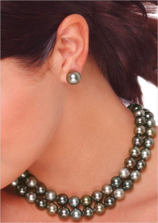 13mm Black Tahitian Cultured Pearl Stud Earring American