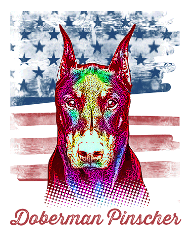 Doberman Pinscher T Shirt Cropped American Flag