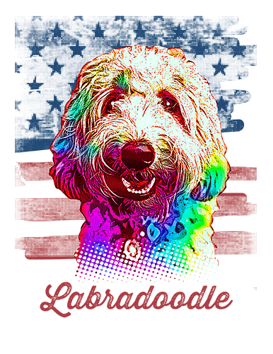Labradoodle T Shirt Blond American Flag