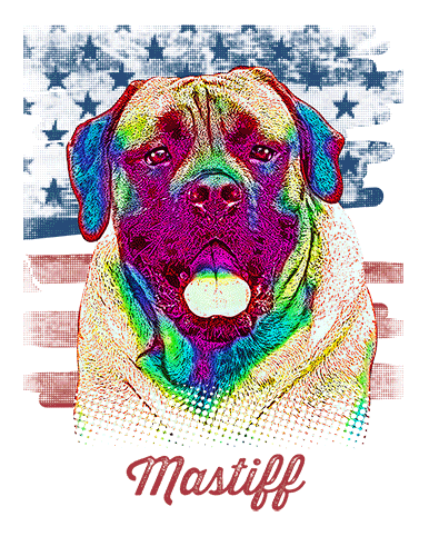 Mastiff T Shirt American Flag