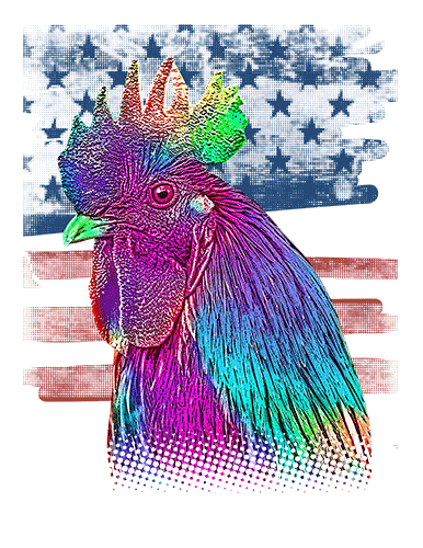 Chicken T Shirt American Flag