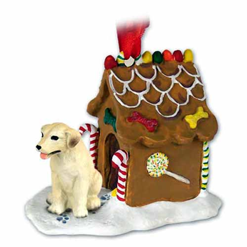 Yellow Lab Gingerbread House Christmas Ornament
