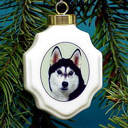 Siberian Husky Christmas Ornament Porcelain