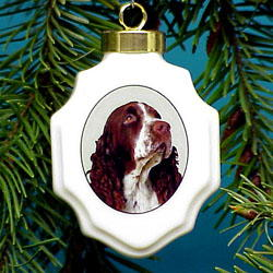 Springer Spaniel Christmas Ornament Porcelain