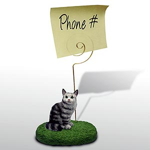 Maine Coon Cat Note Holder (Silver)
