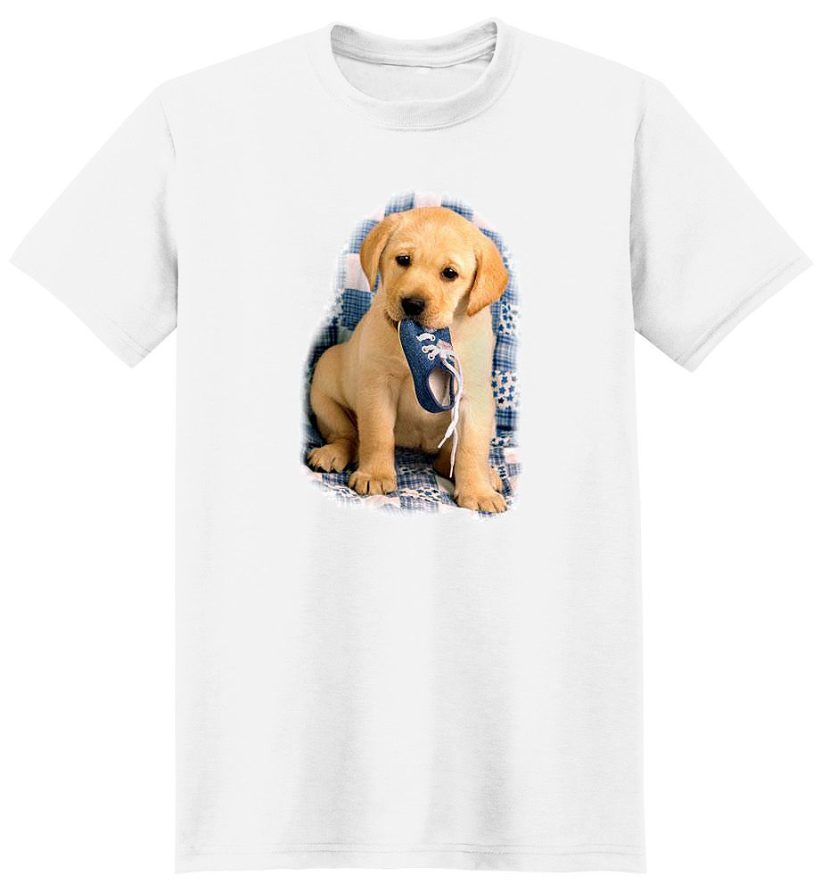 Yellow Lab T Shirt Puppy With Shoe