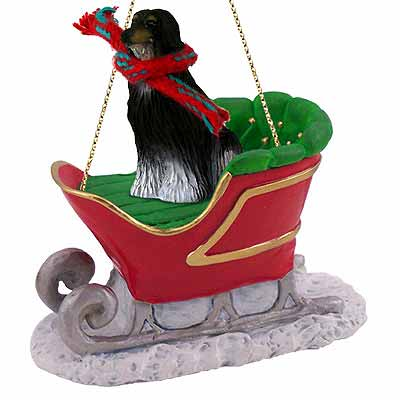 Afghan Hound Sleigh Ride Christmas Ornament Black-White