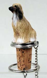 Afghan Hound Bottle Stopper Tan & White