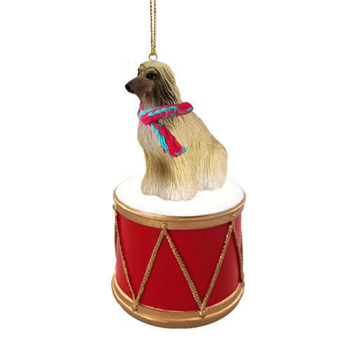 Little Drummer Afghan Hound Christmas Ornament