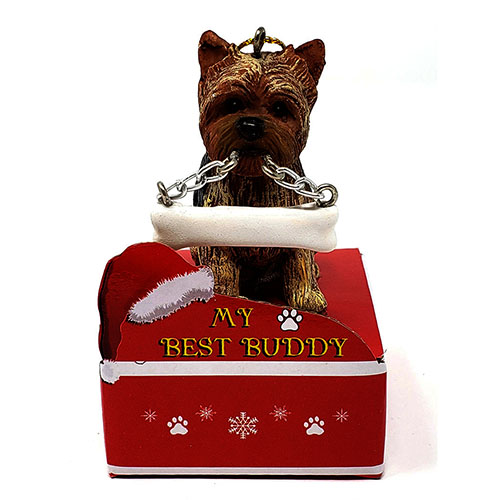 My Best Buddy Yorkshire Terrier Puppy Cut Christmas Ornament