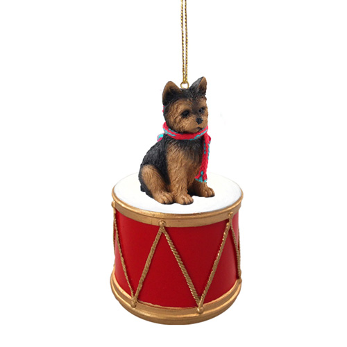 Little Drummer Yorkshire Terrier Puppy Cut Christmas Ornament