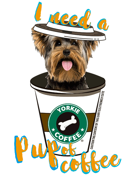 Yorkie T Shirt - Coffee Mug Puppy Cut