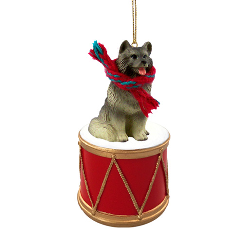 Little Drummer Keeshond Christmas Ornament