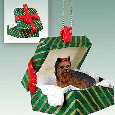 Yorkshire Terrier Gift Box Christmas Ornament
