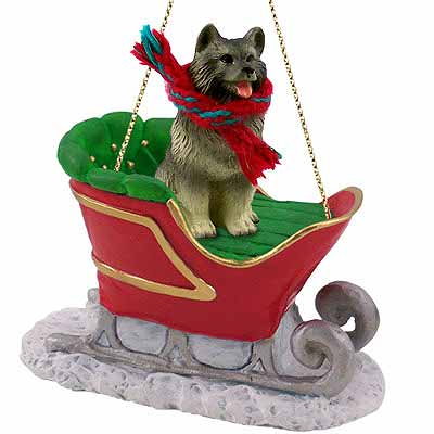 Keeshond Sleigh Ride Christmas Ornament