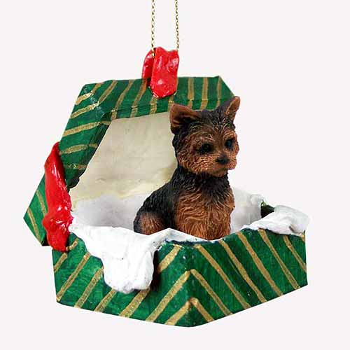 Yorkshire Terrier Gift Box Christmas Ornament Puppy Cut