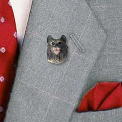 Keeshond Pin Hand Painted Resin