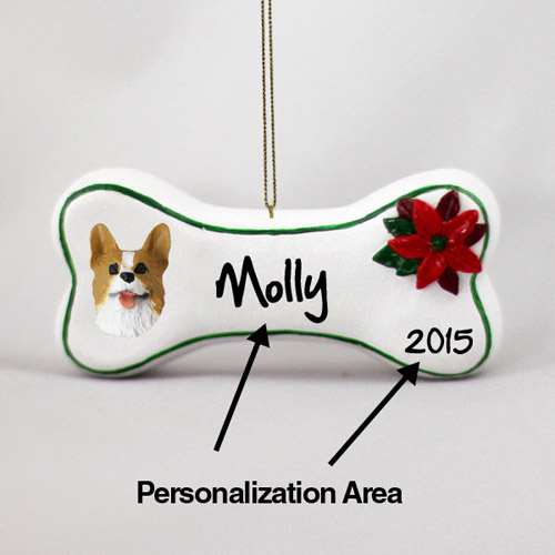 Corgi Personalized Dog Bone Christmas Ornament
