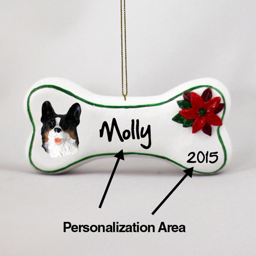 Corgi Personalized Dog Bone Christmas Ornament Cardigan