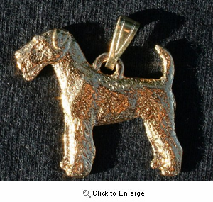 Airedale Terrier 24K Gold Plated Pendant