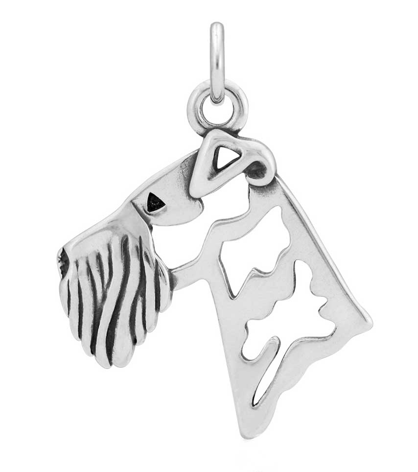 Sterling Silver Airedale Terrier Head Necklace