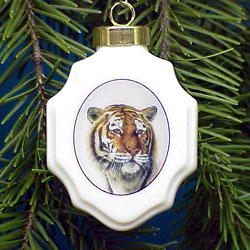 Tiger Christmas Ornament Porcelain