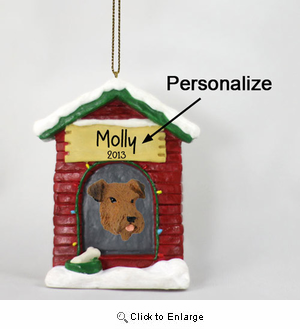 Airedale Terrier Personalized Dog House Christmas Ornament