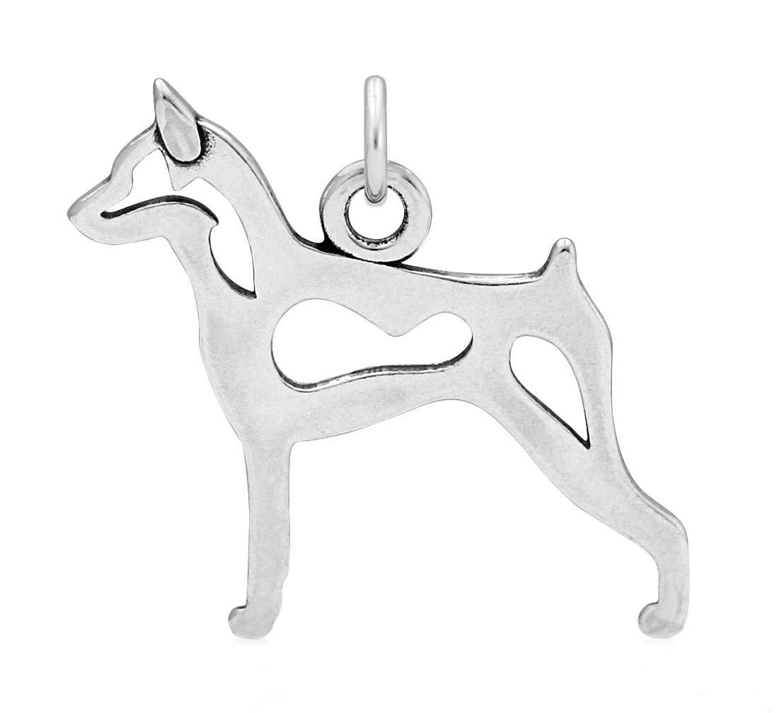 Sterling Silver Miniature Pinscher Body Necklace