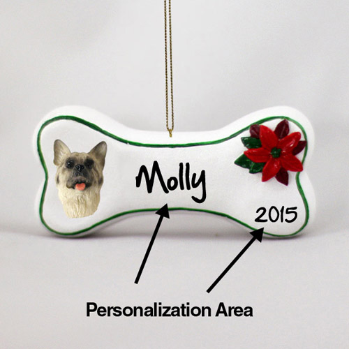 Akita Personalized Dog Bone Christmas Ornament