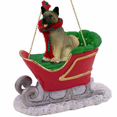 Akita Sleigh Ride Christmas Ornament Gray