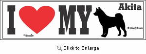 Akita Bumper Sticker I Love My