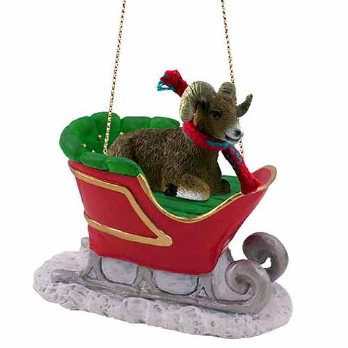 Big Horn Sheep Sleigh Ride Christmas Ornament