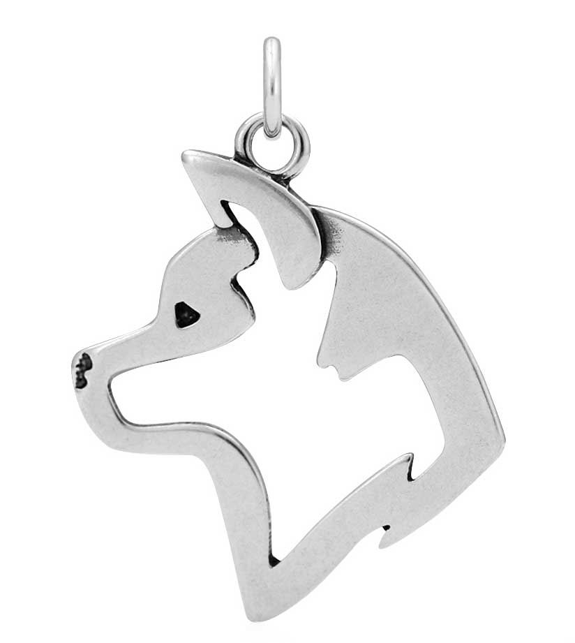 Sterling Silver Akita Head Necklace