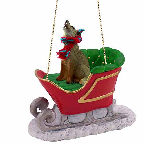 Coyote Sleigh Ride Christmas Ornament